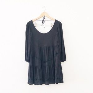 Lovers + Friends Black Lace Trim Long-sleeve Dress
